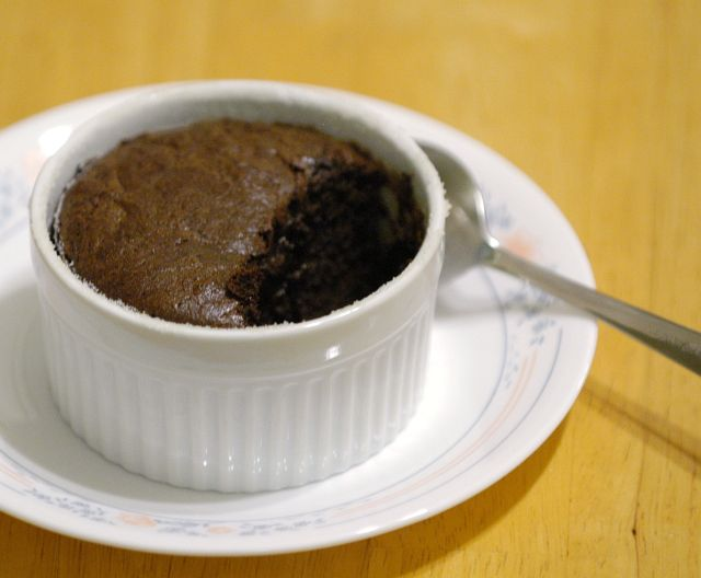 Dark Chocolate Soufflé (serves two; recipe can be doubled )